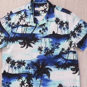 Tommy Bahama Blue Palm Tree Button Down Medium